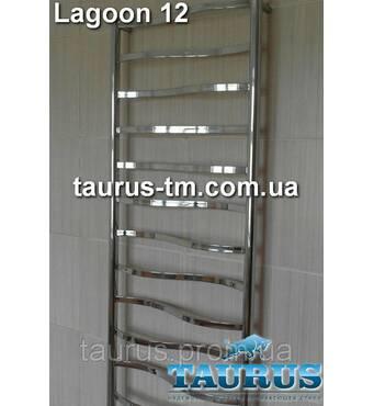 Высокий полотенцесушитель Lagoon 12 /1250х500 для ванной комнаты с волновыми перекладинами. TAURUS, Смела