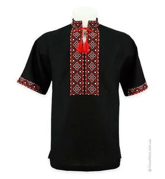Сорочка вишиванка чорна, короткий рукав, червоно-біла вишивка