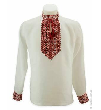 Вышитая льняная рубашка с черкасским узором