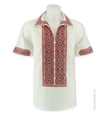 Рубашка вышиванка белая с коротким рукавом с красно-черной вышивкой