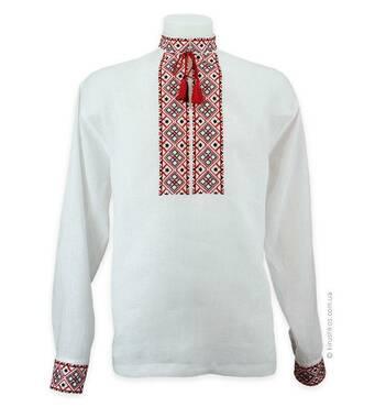 Сорочка вишиванка біла з довгим рукавом