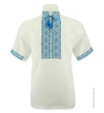 Рубашка вышиванка белая, короткий рукав, голубая вышивка