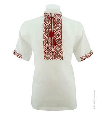 Рубашка вышиванка белая, короткий рукав, красно-черная вышивка