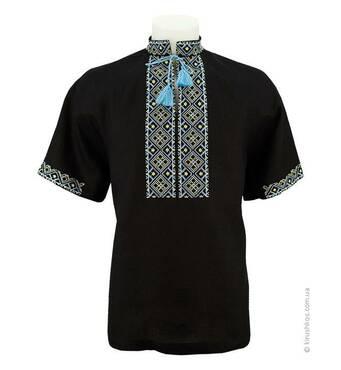 Рубашка вышиванка черная с сине-желтой вышивкой