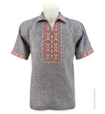 Рубашка вышиванка серая с коротким рукавом