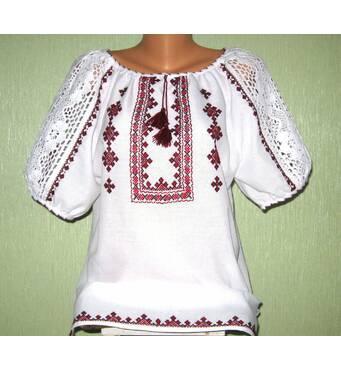 вишита сорочка жіноча з білим мереживом