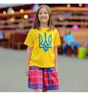 "Дитяча патріотична футболка ""Тризуб"" жовта"