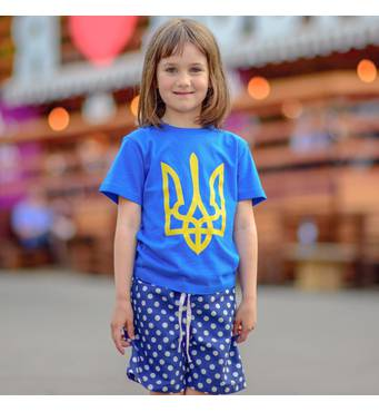 """Дитяча патріотична футболка """"Тризуб"""" синя"""