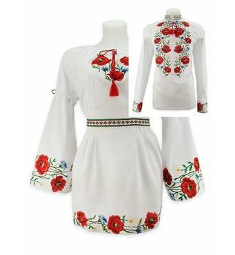 Українські весільні вбрання, вишиті маками