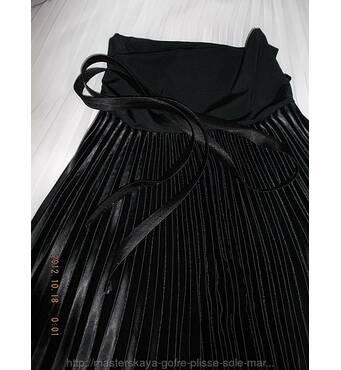 Детская юбка в школу плиссе плотный черный атлас