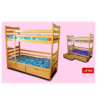 Двухъярусная кровать из натурального дерева Л16