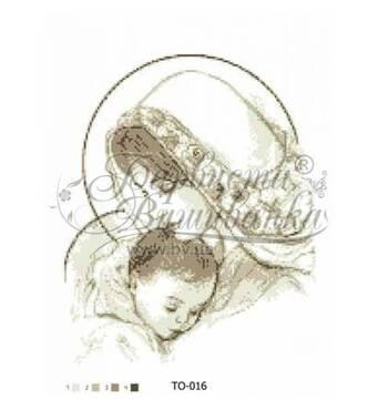 TO016ан3545  Марія з дитиною бежева 35 см x 45 см