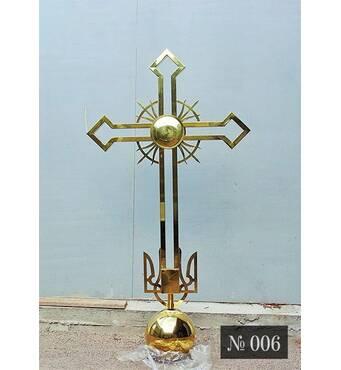 Православный крест № 006 с тризубом в основании