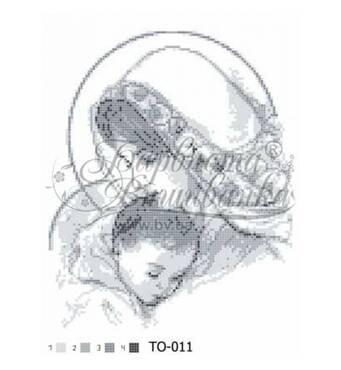 TO011ан2535  Марія з дитиною сіра 25 см x 35 см