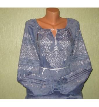 стильна жіноча вишиванка на джинс-льоні