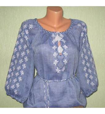 Модная вышиванка на джинс - льне ручной работы