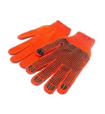 Рукавички х / б з ПВХ крапкою помаранчеві А-10