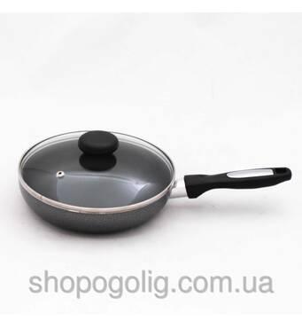 Сковорода алюминиевая диам.20см с антипригарным покрытием и стеклянной крышкой Krauff