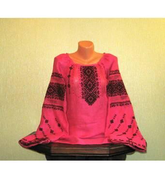 Жіноча вишиванка ручної роботи на льоні розового кольору