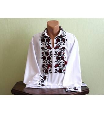 Мужская рубашка вышитая старинным украинским узором ручной работы
