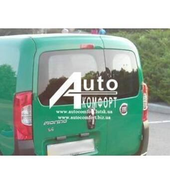Заднє скло (сорочечка ліва) з э. о. і отвором Fiat Fiorino, Citroеn Nemo, Peugeot Bipper (Фиорино, Німо, Биппер)