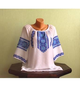 Женская вышиванка ручной работы с коротким рукавом