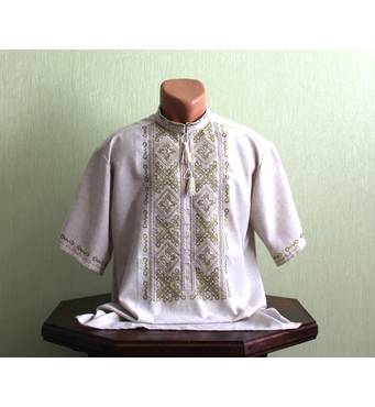 Чоловіча сорочка на сірому полотні з вишивкою оливкового кольору. Ручна робота
