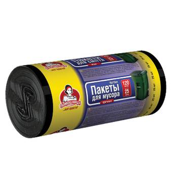 """Пакети для сміття ТМ """"Помічниця"""" 120л 25шт LDPE, чорні"""