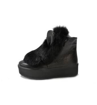 Ботинки (373), черный флатар элит и черная опушка