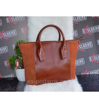 Стильна коричнева жіноча ШКІРЯНА сумка.