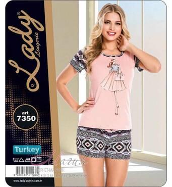 Дуже красивий комплект: рожева футболка  візерункові шорти