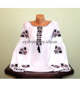 """Рубашка женская вышитая старинным узором ручной работы """"бабочка на калине"""""""
