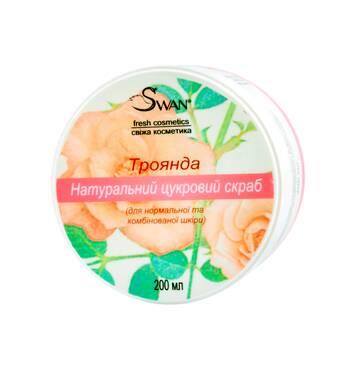 """Натуральний цукровий скраб """"Троянда"""" (для нормальної, комбінованої шкіри), 250 мл"""