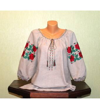 Жіноча вишита сорочка на сірому льоні з червоними трояндами