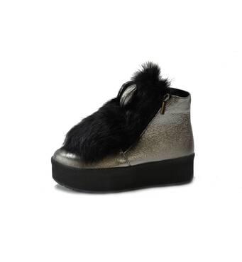 Ботинки (373) темный никель флатар (опушка черный кролик, уши темный никель флатар)