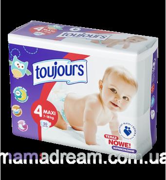 Подгузники Toujours 4 (7-18 кг) 50 шт