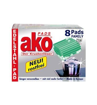 Губка (мочалка) Ako Pads Der Krustenloser для чистки кастрюль, 8 шт. Германия