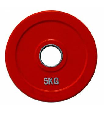 RCP19 - 5 Кольоровий диск для штанги обгумований, 5 кг