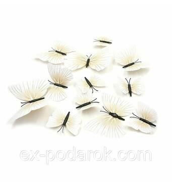 3d Метеликів з магнітом для декору бежеві 12 штук.