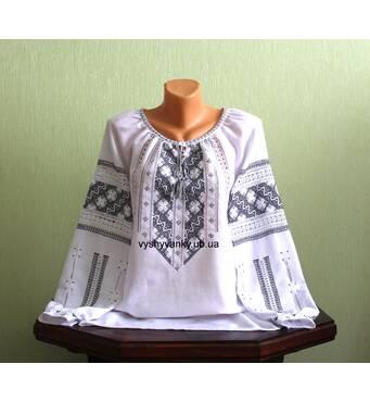 Женская рубашка вышитая черным и белым шелком. Ручная работа