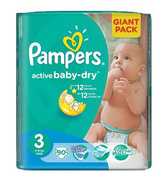 Подгузники Pampers Active Baby 3-ка (4-9кг) 90 шт