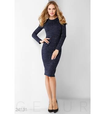 Ангоровое платье люрекс (темно-синий)