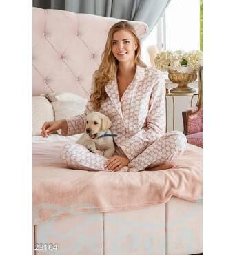 Теплая женская пижама (розово- зеленый)