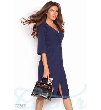 Деловое платье миди (синий)