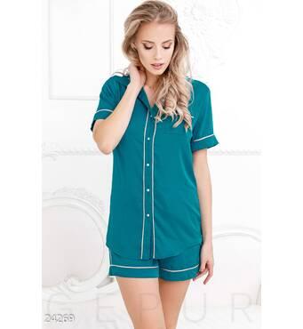 Короткая шелковая пижама (бирюзовый)