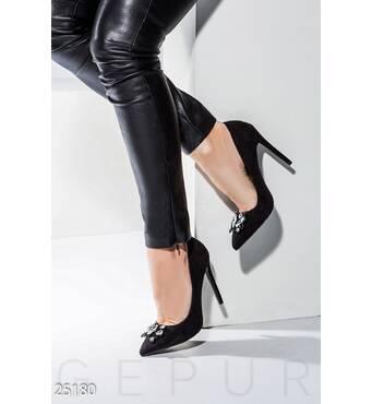 Декорированные туфли-лодочки (черный)