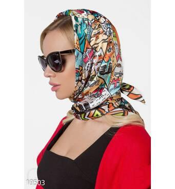 Шелковый принтованный платок (мультиколор)