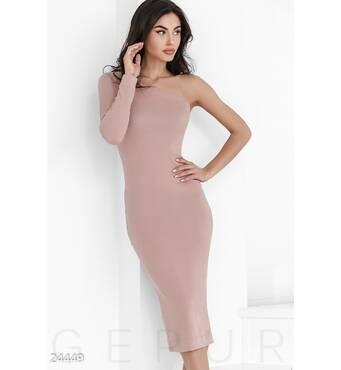Платье октрытое плечо (персиковый)