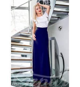 Платье в пол (темно-синий, белый)