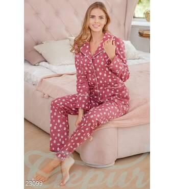 Теплая женская пижама (розово-белый)
